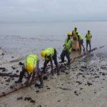 Pipe installation on the beach Dar-es-Salaam